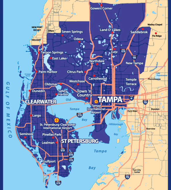 tampa bay service area map